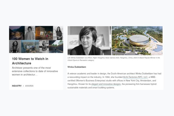 Winka included in Architizer's '100 Women to Watch in Architecture'
